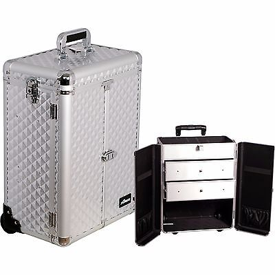 $144.99 • Buy Professional Aluminum Rolling Makeup Cosmetic Case Wheeled 2 Drawers Trolley NIB