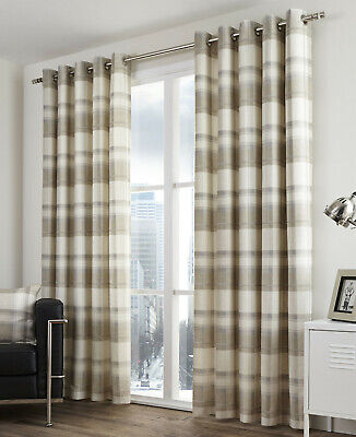 Balmoral Check Natural Eyelet Ring Top Curtains • 46.99£