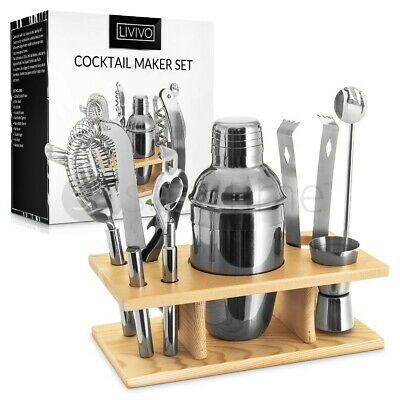 10pc Cocktail Maker Set Shaker Glass Twisted Bar Spoon Strainer Wood Muddler • 16.95£