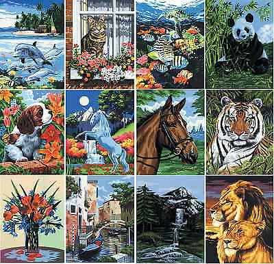 18 DESIGNS CANVAS PAINT BY NUMBERS ARTIST PAINTING KITS Animals Landscapes & Sea • 9.95£