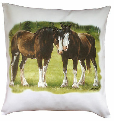 Horse Equestrian Shire Clydesdale Themed Cotton Cushion Cover - Perfect Gift • 14.99£