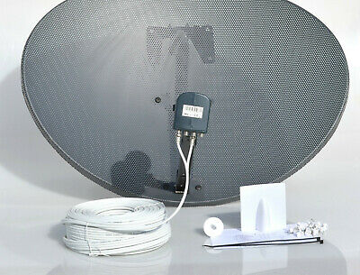 Zone 2 Freesat Satellite Dish For Sky & MK4 Octo Lnb + 50M White Twin  Cable Kit • 52.99£