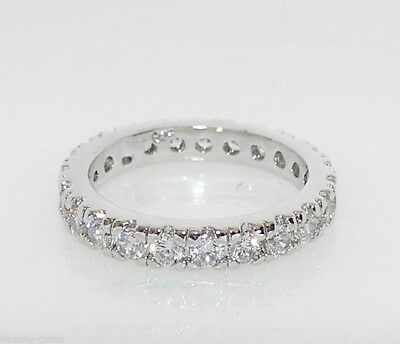 Simulated Diamond Full Eternity Ring White Gold Plated Size M O Q S U W Y Z+1 • 10.99£