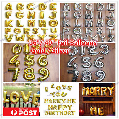 AU1.40 • Buy Silver/Gold Letter Number Foil Balloon Birthday Wedding Party Decoration Helium