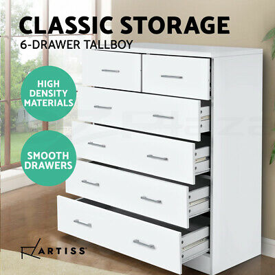 AU157.90 • Buy Artiss Tallboy Dresser Table 6 Chest Of Drawers Cabinet Bedroom Storage White