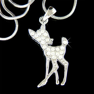 £25.15 • Buy ~BAMBI DEER~ Made With Swarovski Crystal Fawn Charm Chain Necklace Jewelry Gift