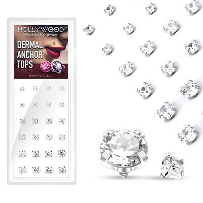 £21.29 • Buy 24 Pcs Clear CZ Prong Set Surgical Steel Micro Dermal Anchor Top 14g 3mm 4mm 5mm