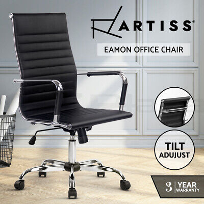 AU159 • Buy Artiss Eames Replica Office Chair Leather Executive Computer Chairs Seat Black