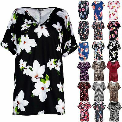 £6.49 • Buy Womens T Shirt Ladies Oversized Baggy Plus Size Top Loose V Neck Turn Up Batwing