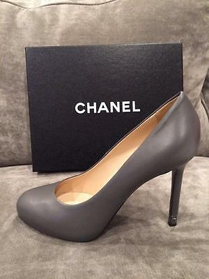 be1ff5f95be CHANEL 15B 2015 Classic Lambskin Leather Pumps Metal Heel Shoes Dark Grey   795 • 599.99