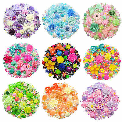 MIX SET Flatback Cabochons & Pearl Diamantes Embellishment Decoden Resin Rose • 3.99£