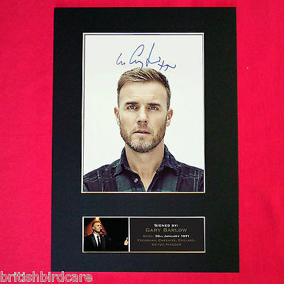 GARY BARLOW Signed Reproduction Autograph Mounted Photo Print A4 402 • 17.99£