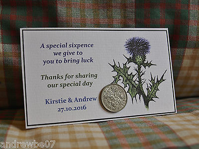 £1.99 • Buy Lucky Sixpence Personalised Scottish Thistle Wedding Favour Handmade From Skye