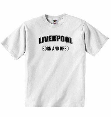 Liverpool Born And Bred - Personalised Baby T-shirt Tees Clothing Boys, Girls • 8.99£