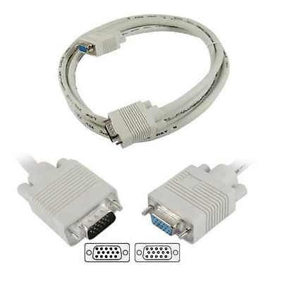VGA Extension Cable 15 Pin VGA SVGA D-Sub Male To Female Extender Lead Converter • 2.25£