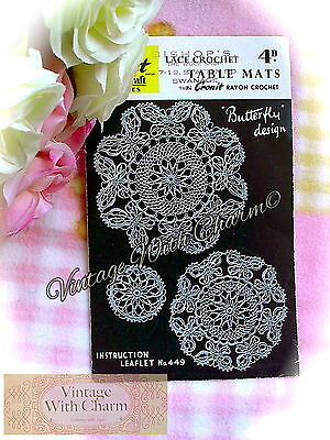 £1.99 • Buy Vintage 1940s Crochet Pattern  Butterfly  Design Table Mats. 3 Sizes Of Mats.