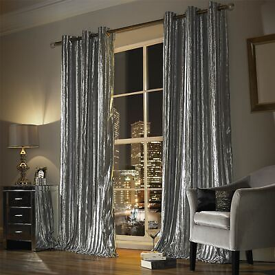 Iliana Silver Lined Velvet Ring Top Curtains Drapes *5 Sizes* • 79.20£