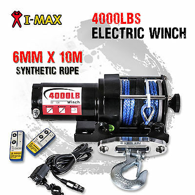 AU159 • Buy I-Max 12V Wireless 4000LB/1800KG Electric Synthetic Rope Winch ATV 4WD 4x4 Boat