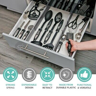 £9.95 • Buy 2 X Drawer Dividers Partition Spring Loaded Expandable Kitchen Bedroom Organiser