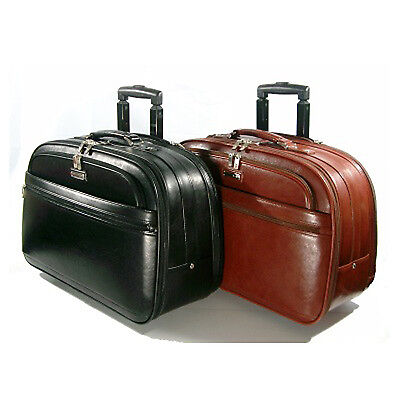 Rolling Leather Briefcase Leather Business Travel Bag Lawyer Document Bag Wheels • 135.54£