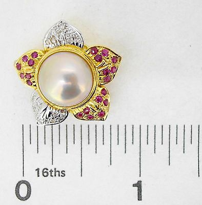 $1725 • Buy Necklace Clasp 14Ky Gold Mabe Pearl 21 Rubies 14 Diamonds 2 Strand Pendant Bail