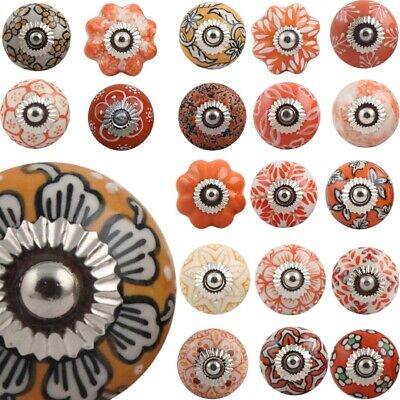 ORANGE Ceramic Door Knobs YELLOW Door Handles Mustard Drawer Shabby Chic  • 2.50£