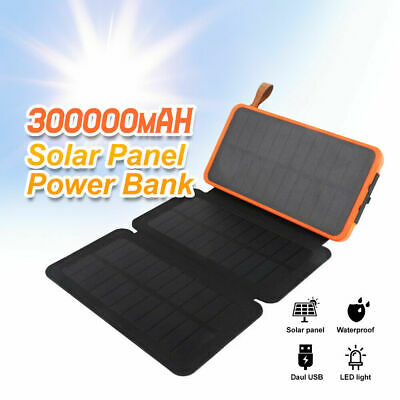 AU29.82 • Buy 300000mAh Portable Solar Charger Dual USB External Battery Power Bank Waterproof