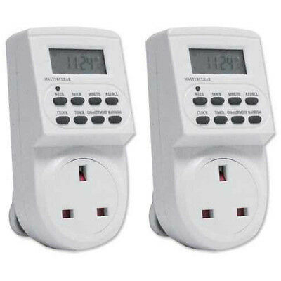 2 X Energy Saving 7 Day Electric Plug In LCD Digital Timer Socket Switch UK • 14.99£