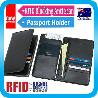 AU19.99 • Buy Travel Wallet RFID Blocking Anti Scan Long Passport Holder Synthetic Leather