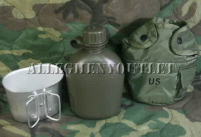 $ CDN16.93 • Buy US Military 3 Piece 1 Qt Canteen Kit W/ USGI OD Cover & Army Type Aluminum Cup