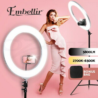 AU96.90 • Buy Embellir LED Ring Light With Stand 19  Tripod Silver Phone Camera Dimmable Diva