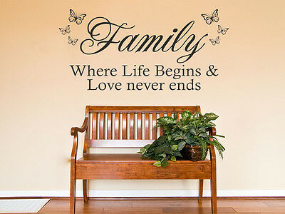 £15.95 • Buy Family Wall Quote  Family, Where Life Begins...  - Wall Sticker, Decal, Transfer