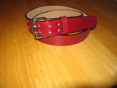 $45 • Buy Custom Made Genuine Leather  Belt 1 1/2'' Wide Double Prong Buckle Oxblood