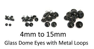 £3.49 • Buy GLASS DOME Eyes With Metal Loops - Teddy Bear Making Doll Animal Craft Soft Toys
