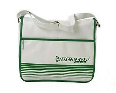 £9.95 • Buy DUNLOP WHITE GREEN RETRO 80s STYLE COURIER FLAPOVER SHOULDER BAG NEW WITH TAGS