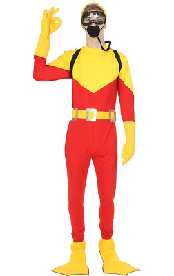 AU69.51 • Buy Orion Costumes Mens Scuba Diver Big Daddy Film Steve Red Yellow Fancy Dress