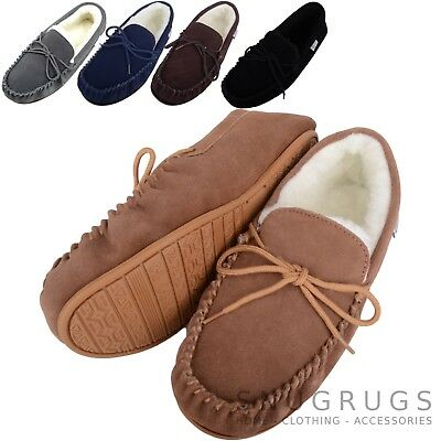 SNUGRUGS Mens Genuine Suede Moccasin Sheepskin Slippers Rubber Sole Sizes 6-15 • 19.99£