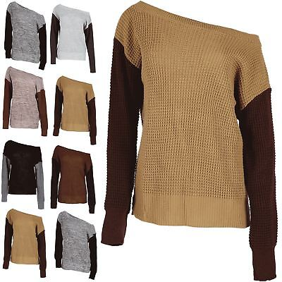 Womens Off The Shoulder Jumper Contrast Sleeve Ladies Chunky Knit Oversized Top • 6.12£
