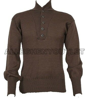 $8.90 • Buy US Military 100% Wool Army Jeep SWEATER 5 Button Warm Winter - MEDIUM (38-40) GC