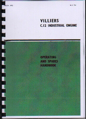 Villiers  C.12'' Industrial Stationary Engine Operating Parts Manual Book • 7.80£