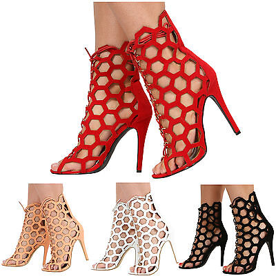 £9.99 • Buy New Womens Ladies Caged High Heel Cut Out Peep Toe Lace Up Sandal Shoes Size 3-8