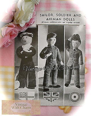 Vintage 1940s Toy Knitting Pattern Instructions, Sailor, Soldier & Airman Dolls • 1.99£
