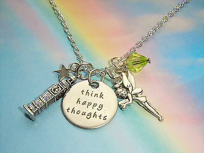 £4.99 • Buy Think Happy Thoughts Quote Charms Necklace Peter Pan Tinkerbell Fairy