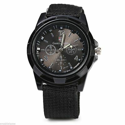 £5.95 • Buy Black Military Army Air Force Soldier Police Swat Airsoft Canvas Strap Watch