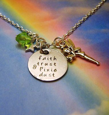Faith Trust & Pixie Dust Charms Necklace Peter Pan Tinkerbell Inspired • 4.99£