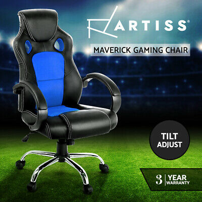 AU169 • Buy Artiss Gaming Chair Office Chairs Work Study Computer Seating Racing Racer Blue