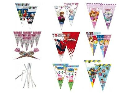 £3.99 • Buy Cone Party Cello Bags - Sweet Candy Cones - Birthday Gift Favours Bag With TIES