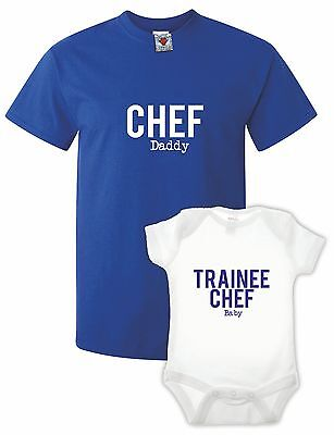 Men's Chef T-Shirt & Babygrow Double Pack Gift Present Xmas Cute Baby Funny • 14.99£