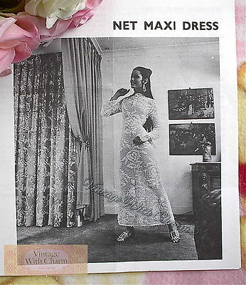 Vintage 70s Crochet Pattern Maxi Dress, Wedding Dress, Bride, Fit 34-36in. Bust • 2.79£