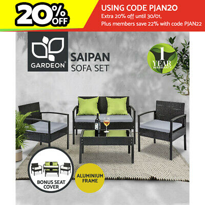 AU323.95 • Buy Gardeon Outdoor Furniture Lounge Setting Garden Patio Wicker Sofa Table Chairs